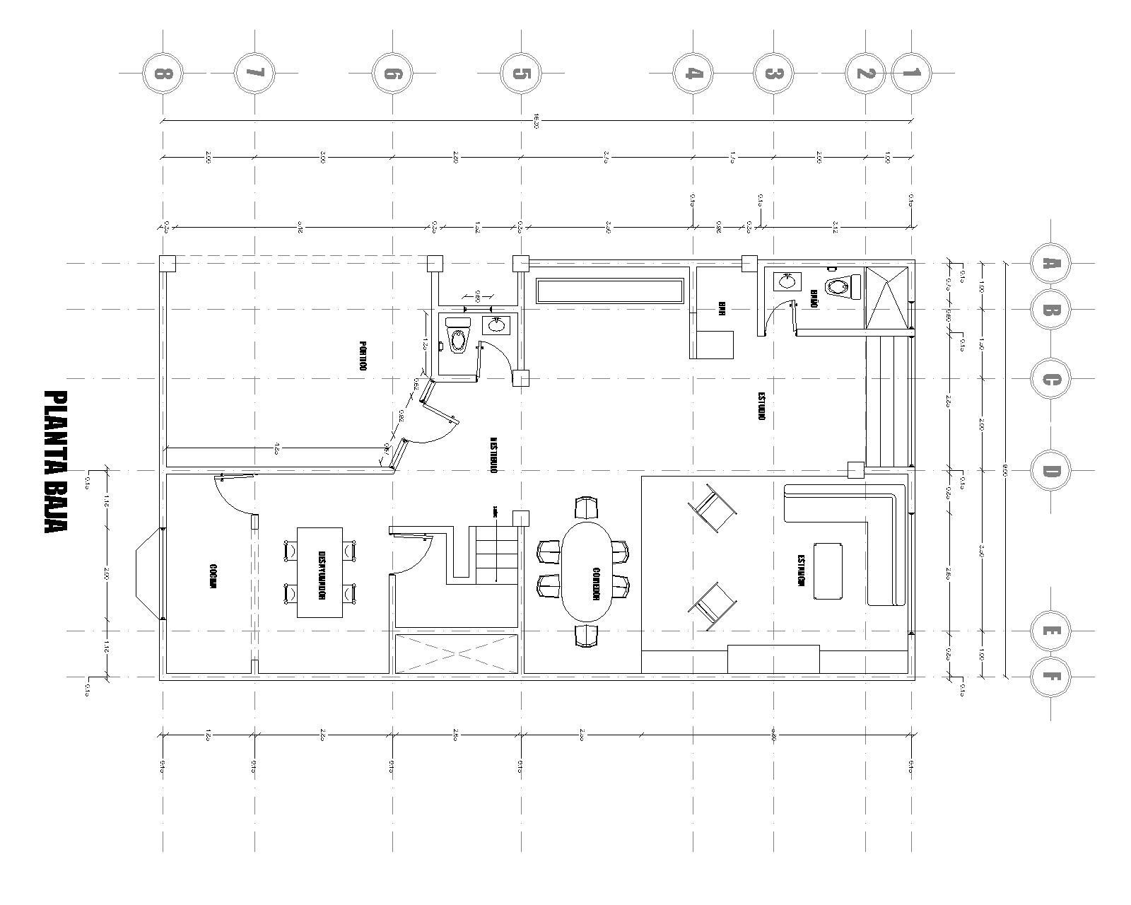 Casa habitacion planos y fachadas plano casa habitacin for Plano casa habitacion